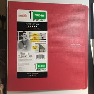 "five star 1"" binder 225 sheet capacity"